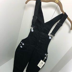 Black Denim Twill Overall Pants